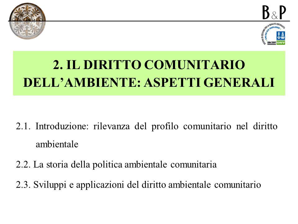 2. IL DIRITTO COMUNITARIO DELL'AMBIENTE: ASPETTI GENERALI