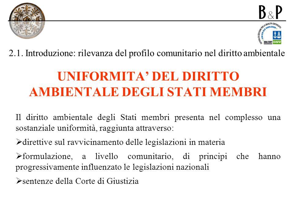 UNIFORMITA' DEL DIRITTO AMBIENTALE DEGLI STATI MEMBRI