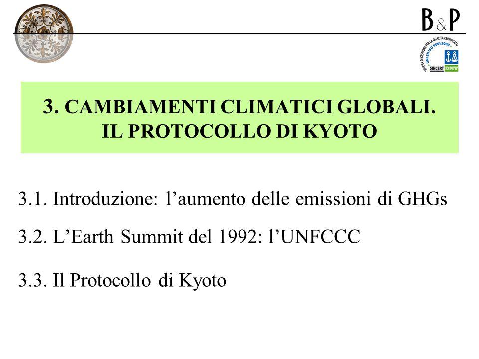 3. CAMBIAMENTI CLIMATICI GLOBALI. IL PROTOCOLLO DI KYOTO