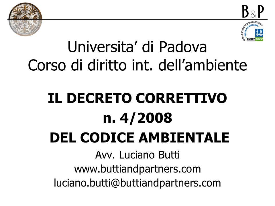 Universita' di Padova Corso di diritto int. dell'ambiente