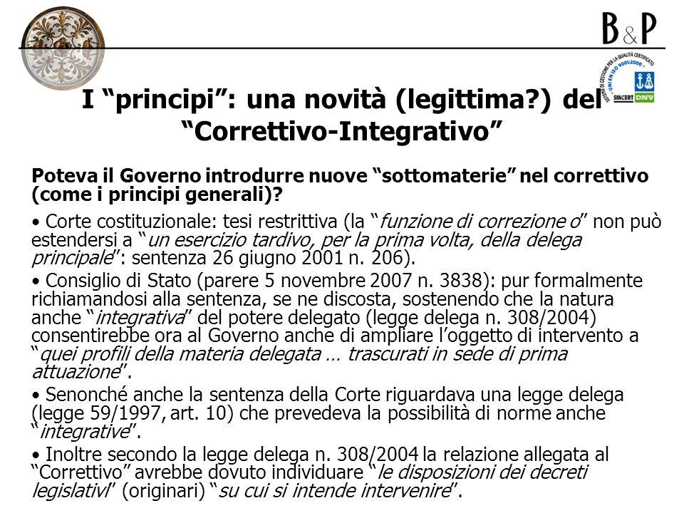 I principi : una novità (legittima ) del Correttivo-Integrativo