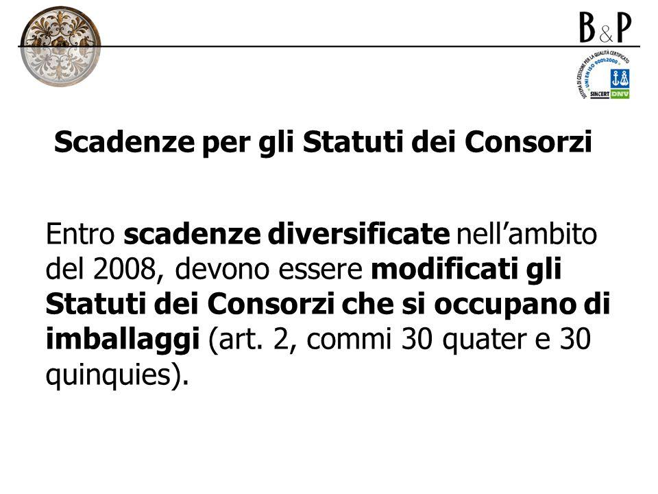 Scadenze per gli Statuti dei Consorzi
