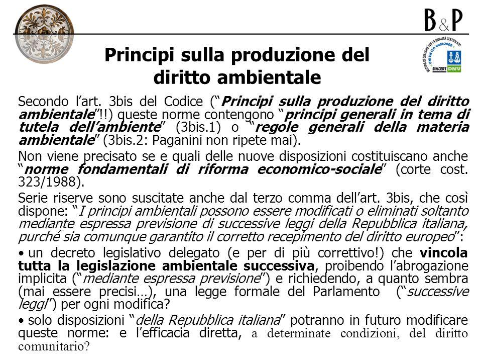 Principi sulla produzione del diritto ambientale
