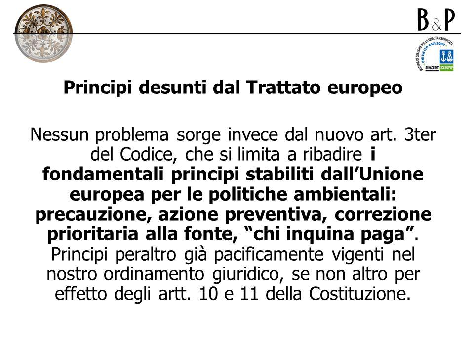 Principi desunti dal Trattato europeo