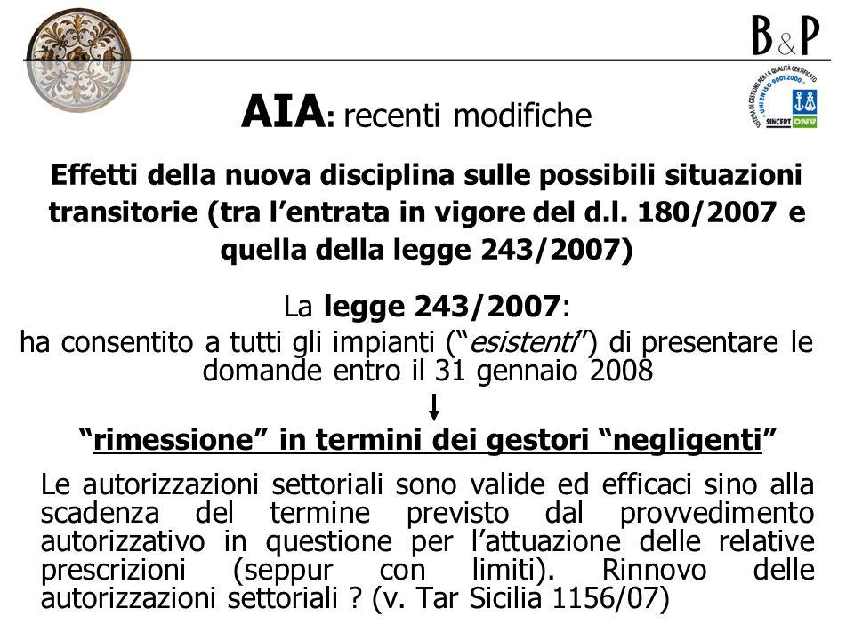 AIA: recenti modifiche