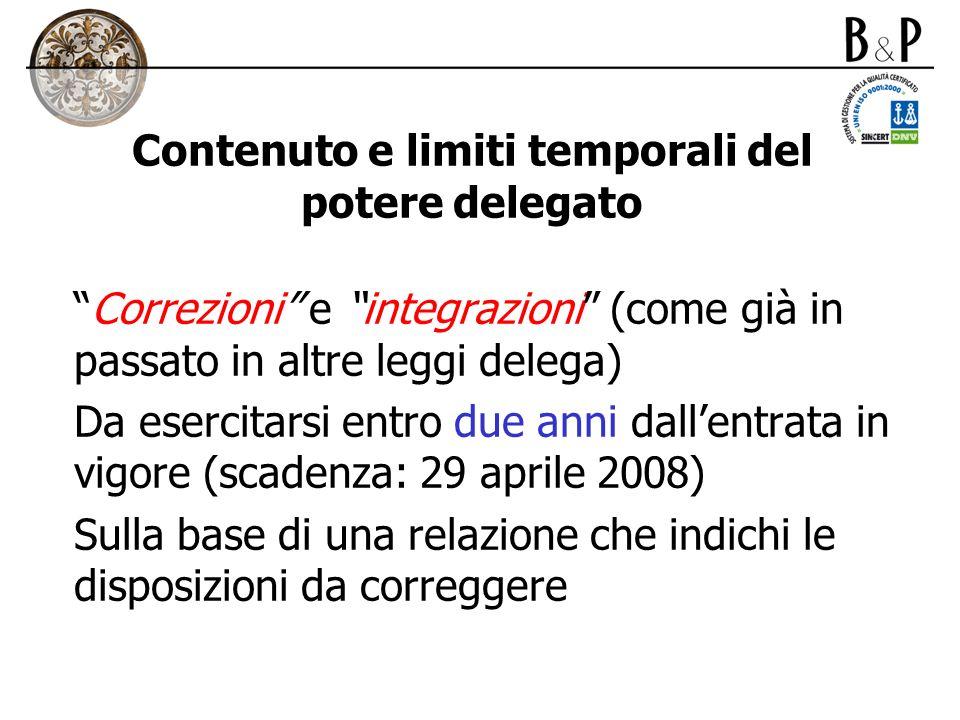 Contenuto e limiti temporali del potere delegato