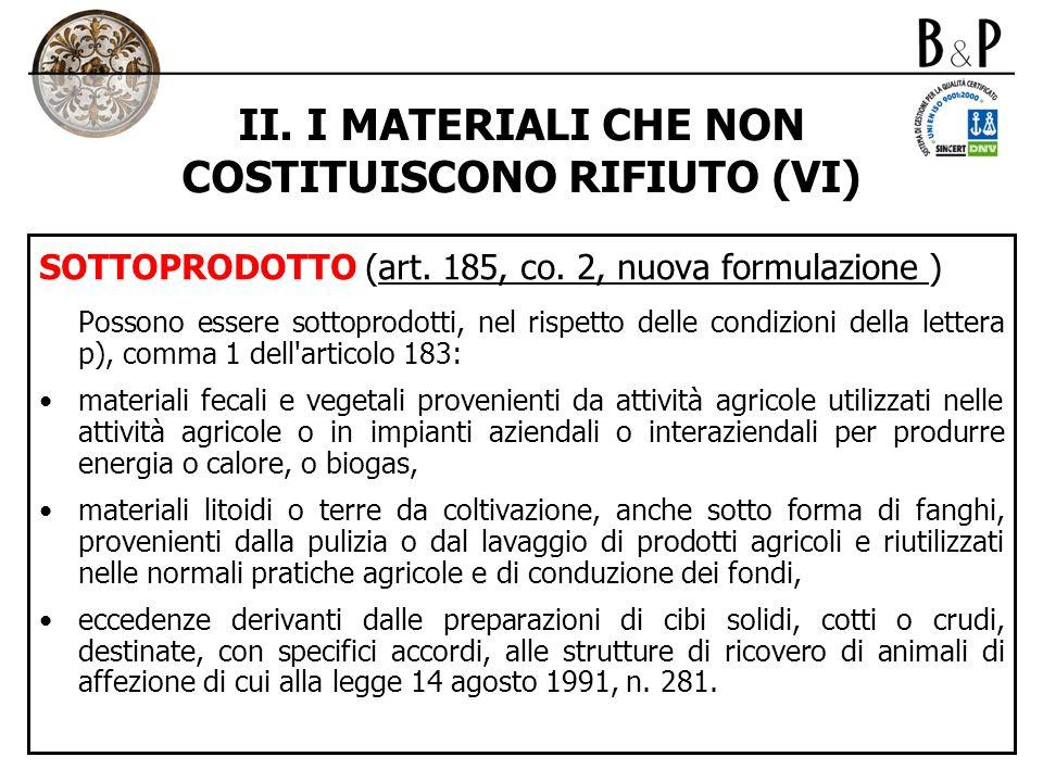 II. I MATERIALI CHE NON COSTITUISCONO RIFIUTO (VI)