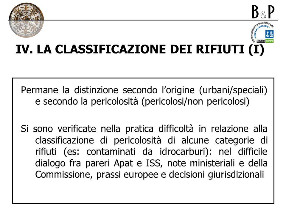 IV. LA CLASSIFICAZIONE DEI RIFIUTI (I)