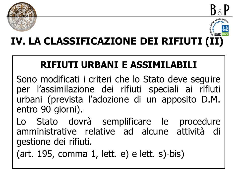 IV. LA CLASSIFICAZIONE DEI RIFIUTI (II)
