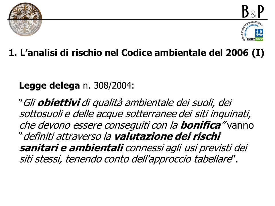 1. L'analisi di rischio nel Codice ambientale del 2006 (I)