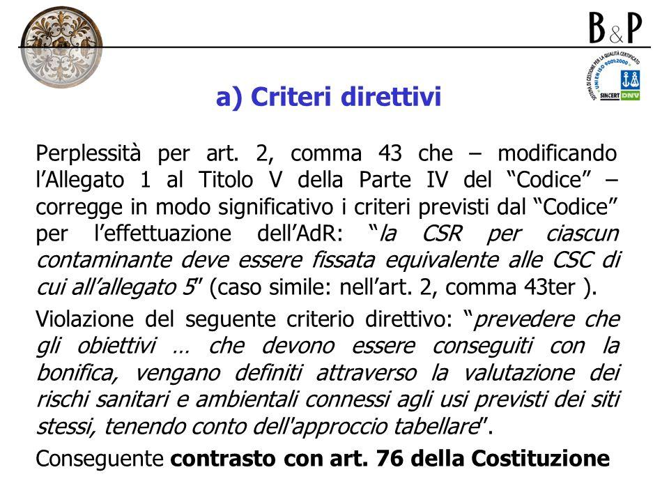 a) Criteri direttivi
