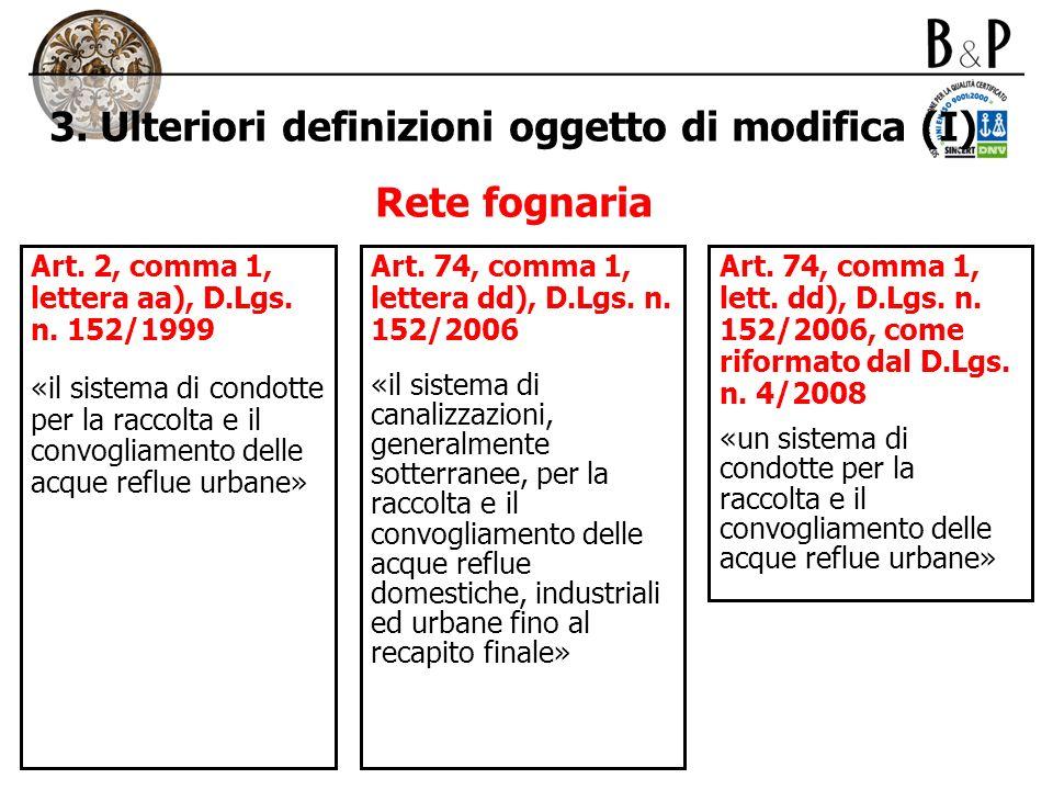 3. Ulteriori definizioni oggetto di modifica (I) Rete fognaria