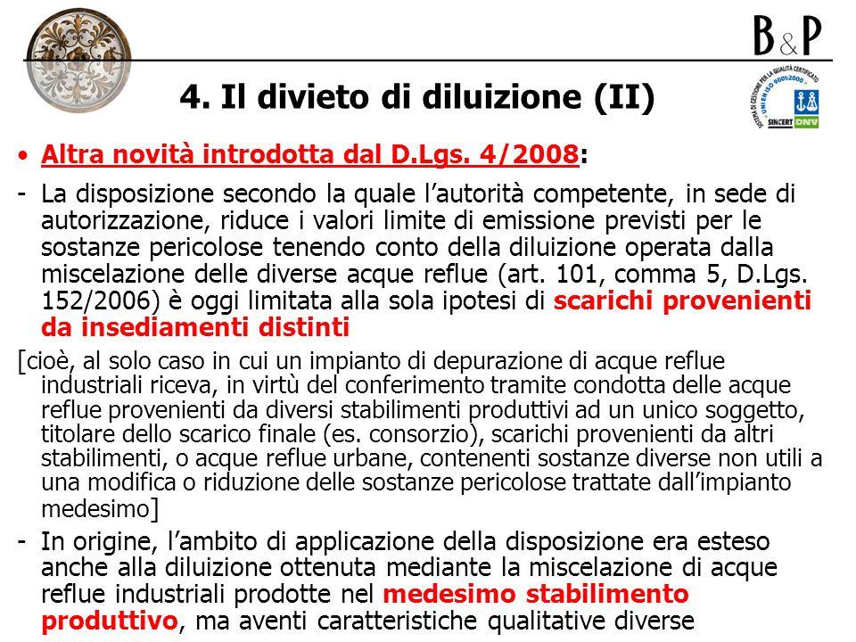 4. Il divieto di diluizione (II)
