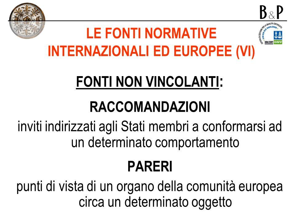 LE FONTI NORMATIVE INTERNAZIONALI ED EUROPEE (VI)