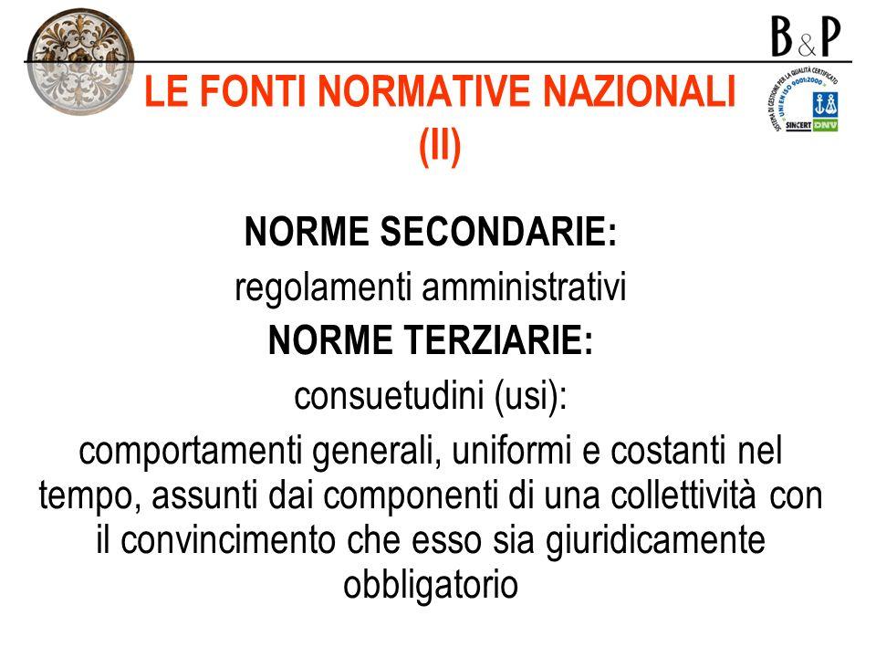 LE FONTI NORMATIVE NAZIONALI (II)