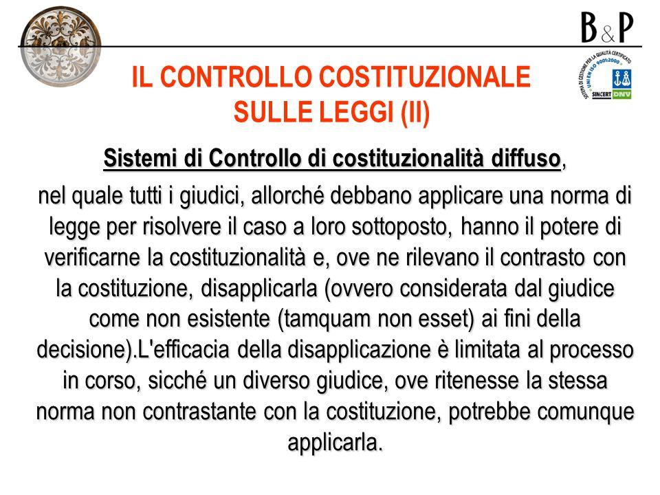 IL CONTROLLO COSTITUZIONALE SULLE LEGGI (II)