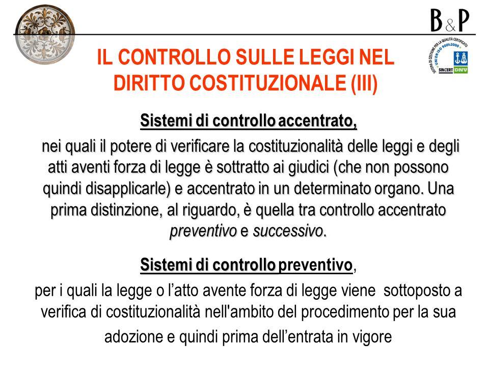 IL CONTROLLO SULLE LEGGI NEL DIRITTO COSTITUZIONALE (III)