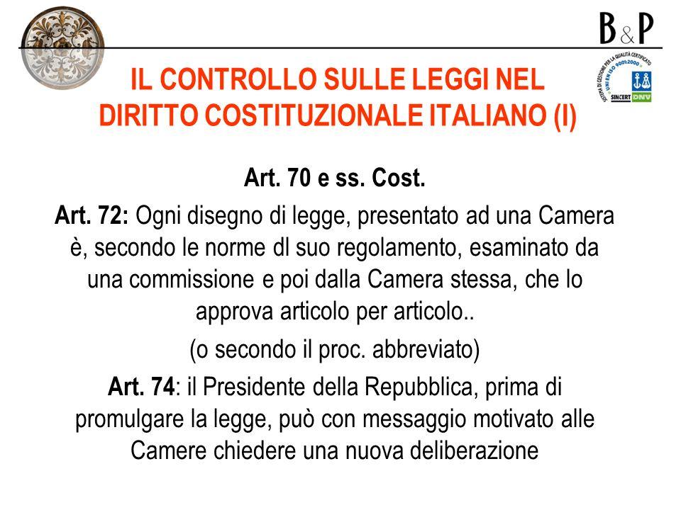 IL CONTROLLO SULLE LEGGI NEL DIRITTO COSTITUZIONALE ITALIANO (I)