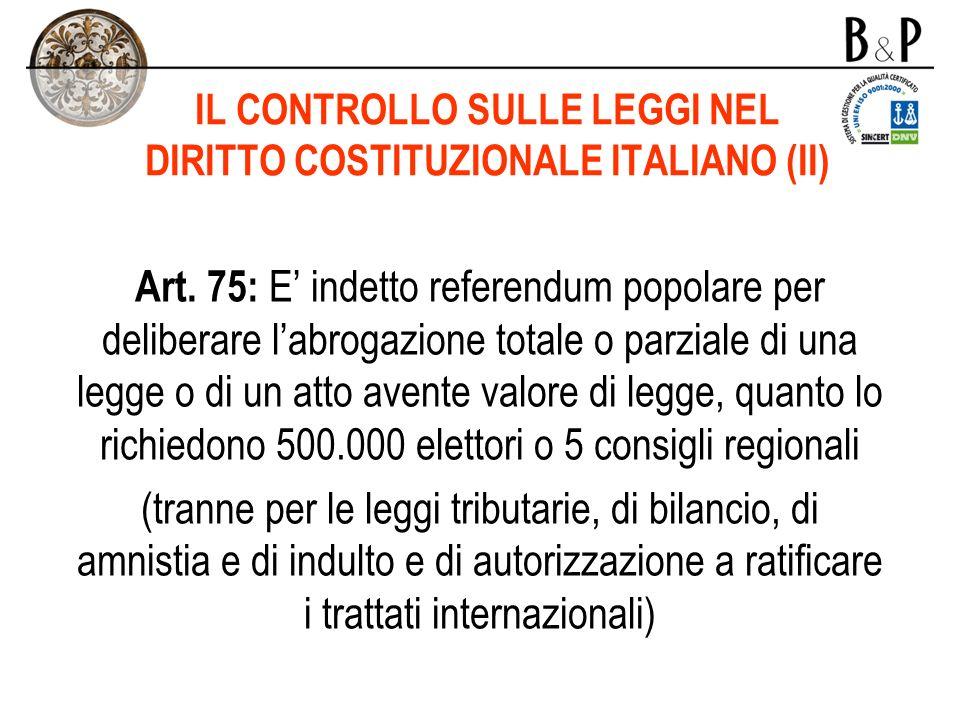 IL CONTROLLO SULLE LEGGI NEL DIRITTO COSTITUZIONALE ITALIANO (II)