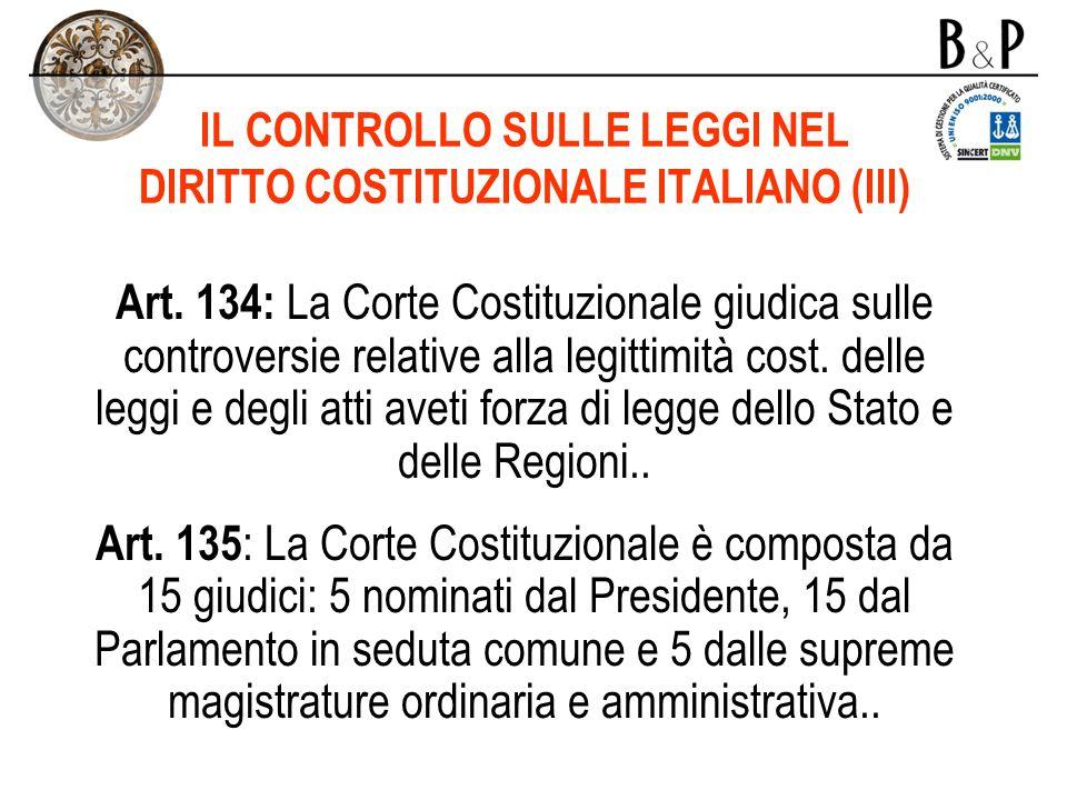 IL CONTROLLO SULLE LEGGI NEL DIRITTO COSTITUZIONALE ITALIANO (III)