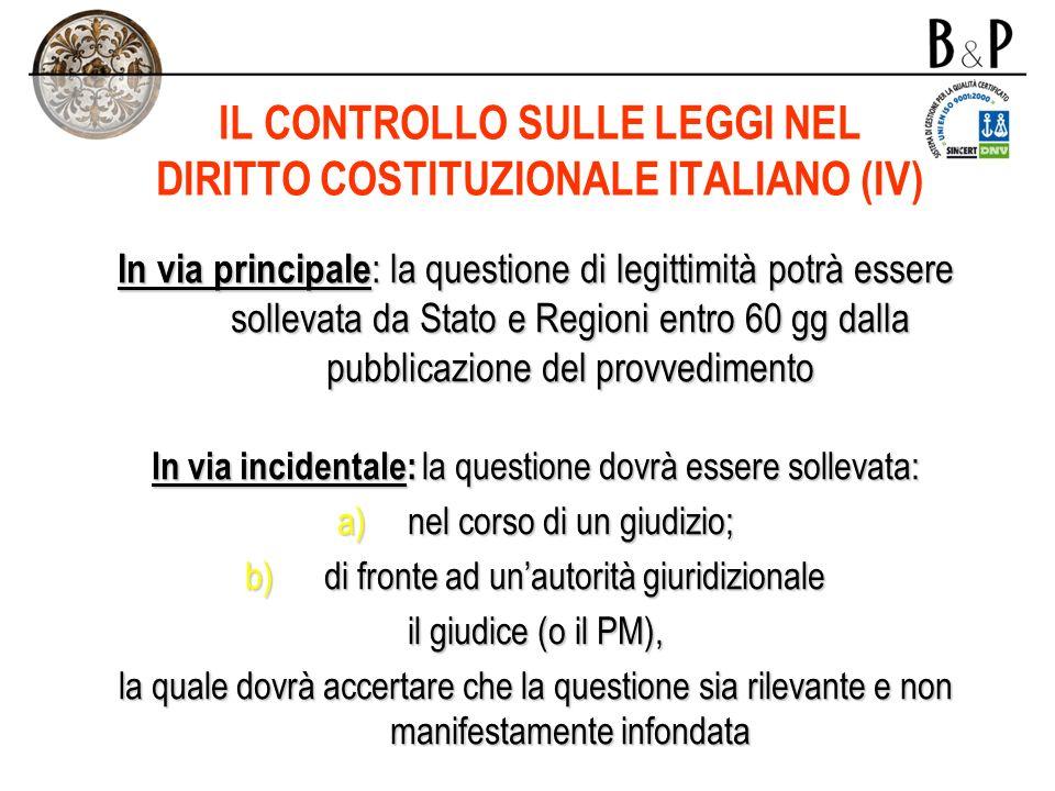 IL CONTROLLO SULLE LEGGI NEL DIRITTO COSTITUZIONALE ITALIANO (IV)