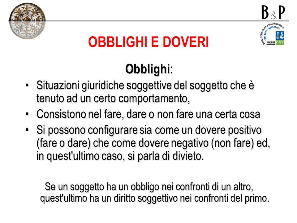 OBBLIGHI E DOVERI Obblighi: