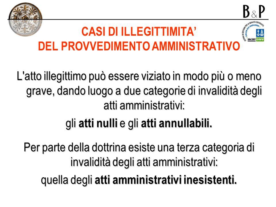 CASI DI ILLEGITTIMITA' DEL PROVVEDIMENTO AMMINISTRATIVO