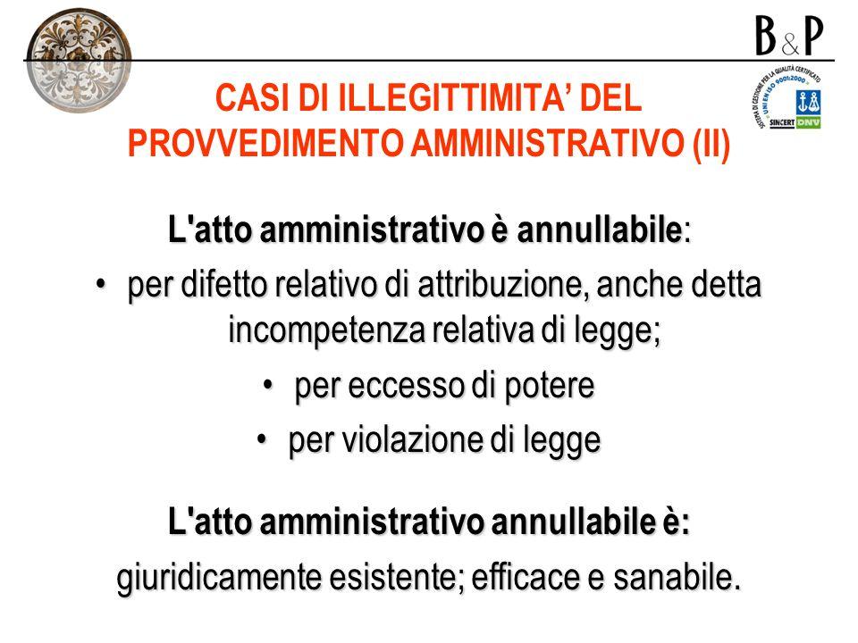 CASI DI ILLEGITTIMITA' DEL PROVVEDIMENTO AMMINISTRATIVO (II)