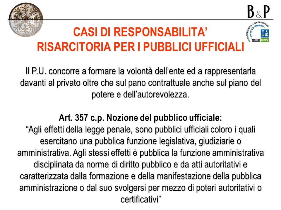 CASI DI RESPONSABILITA' RISARCITORIA PER I PUBBLICI UFFICIALI