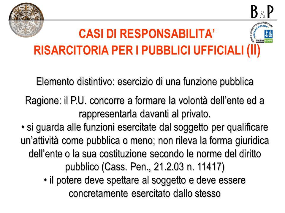 CASI DI RESPONSABILITA' RISARCITORIA PER I PUBBLICI UFFICIALI (II)