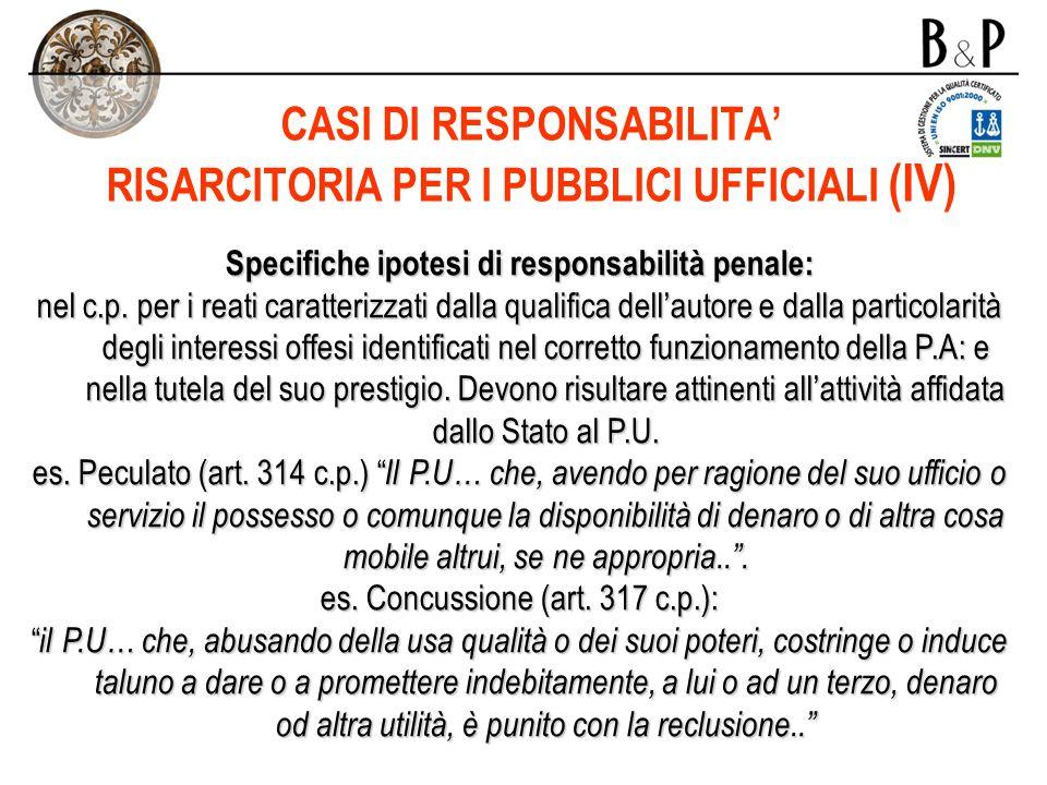 CASI DI RESPONSABILITA' RISARCITORIA PER I PUBBLICI UFFICIALI (IV)