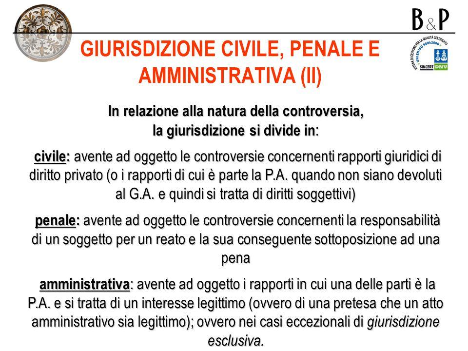 GIURISDIZIONE CIVILE, PENALE E AMMINISTRATIVA (II)