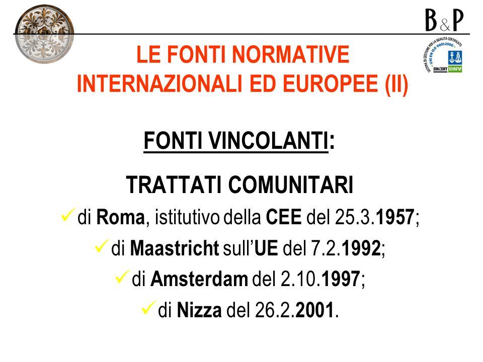 LE FONTI NORMATIVE INTERNAZIONALI ED EUROPEE (II)
