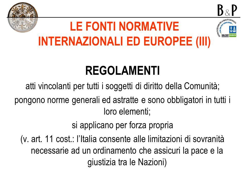 LE FONTI NORMATIVE INTERNAZIONALI ED EUROPEE (III)
