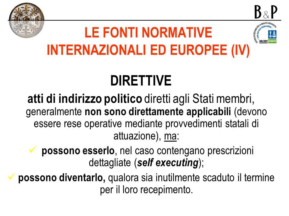 LE FONTI NORMATIVE INTERNAZIONALI ED EUROPEE (IV)