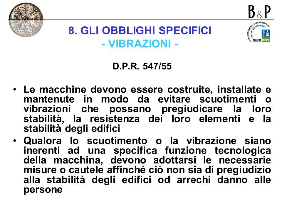 8. GLI OBBLIGHI SPECIFICI - VIBRAZIONI -