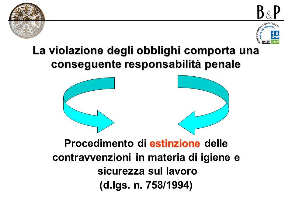 La violazione degli obblighi comporta una conseguente responsabilità penale
