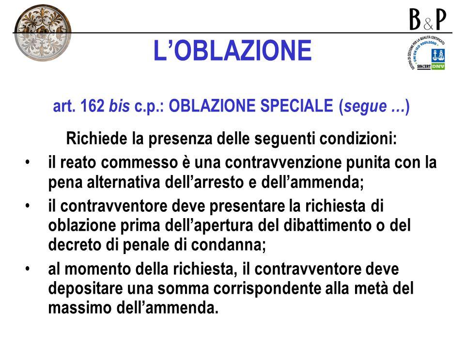 L'OBLAZIONE art. 162 bis c.p.: OBLAZIONE SPECIALE (segue …)