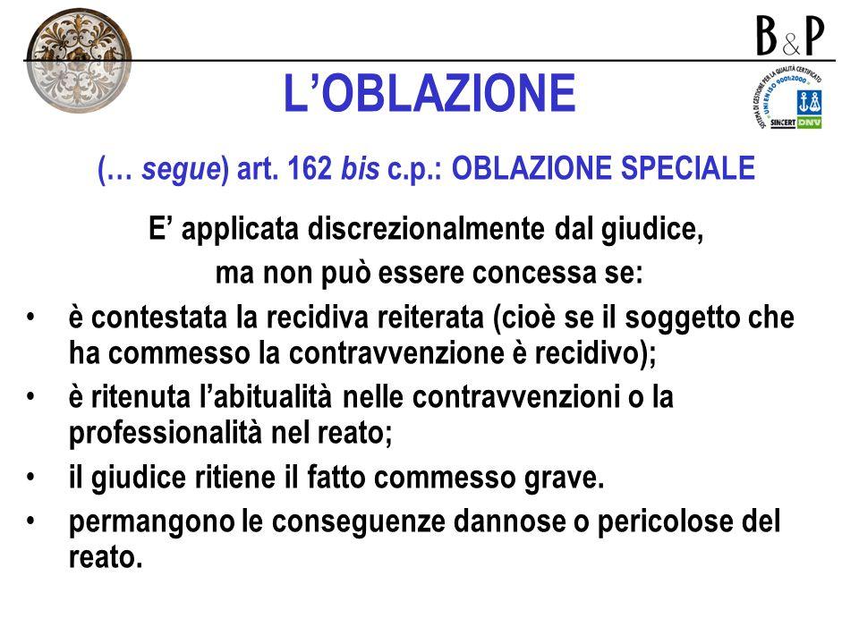 L'OBLAZIONE (… segue) art. 162 bis c.p.: OBLAZIONE SPECIALE