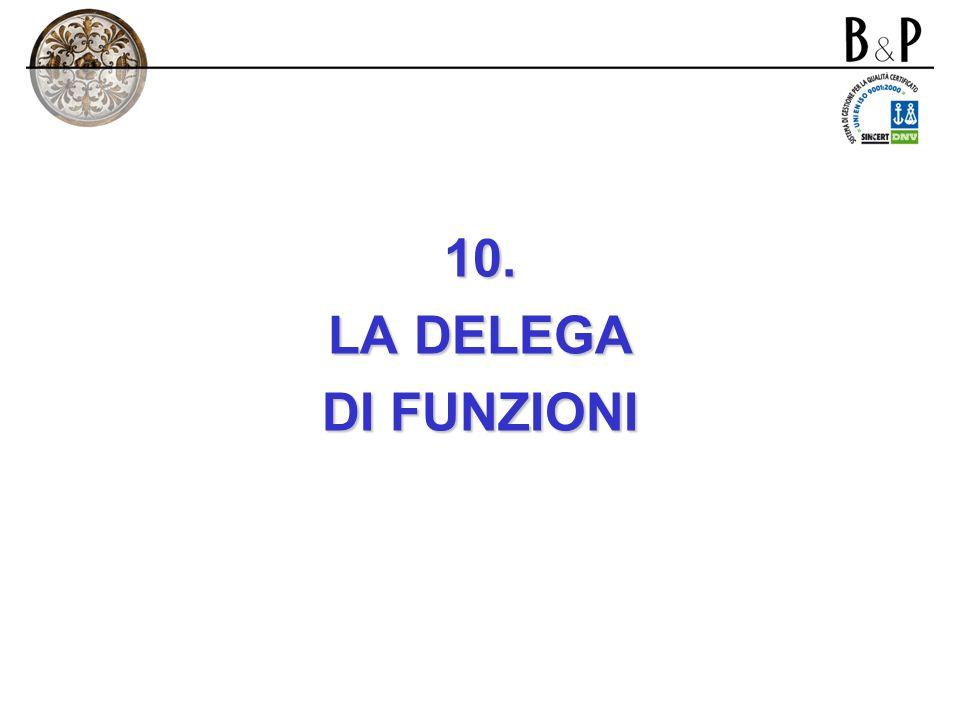 10. LA DELEGA DI FUNZIONI