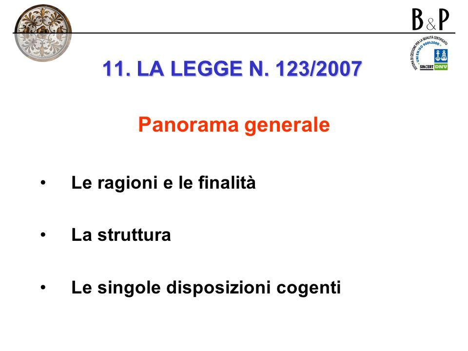 11. LA LEGGE N. 123/2007 Panorama generale