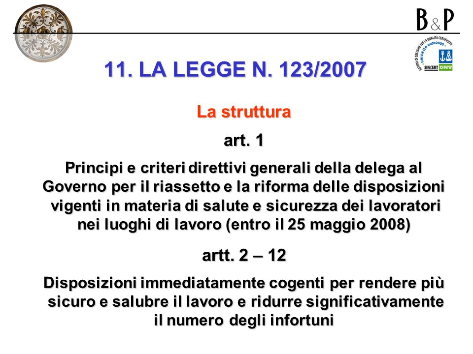 11. LA LEGGE N. 123/2007 La struttura art. 1 artt. 2 – 12