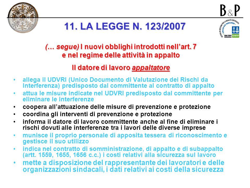 11. LA LEGGE N. 123/2007 (… segue) I nuovi obblighi introdotti nell'art. 7. e nel regime delle attività in appalto.
