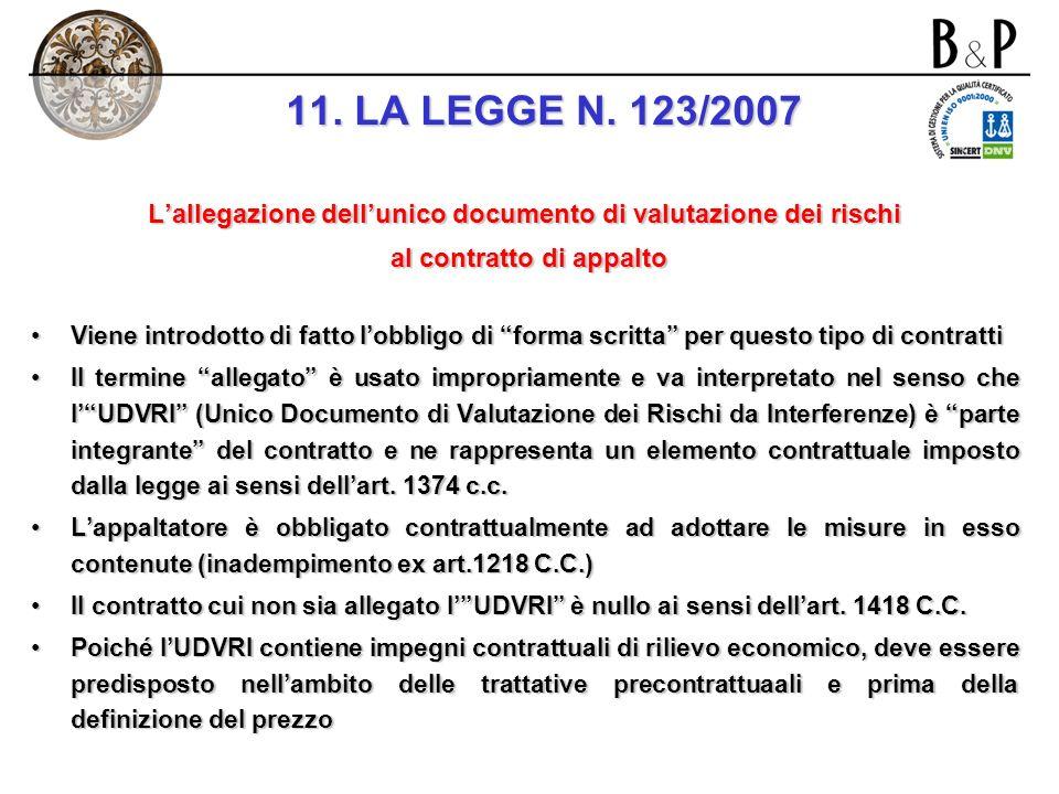 11. LA LEGGE N. 123/2007 L'allegazione dell'unico documento di valutazione dei rischi. al contratto di appalto.