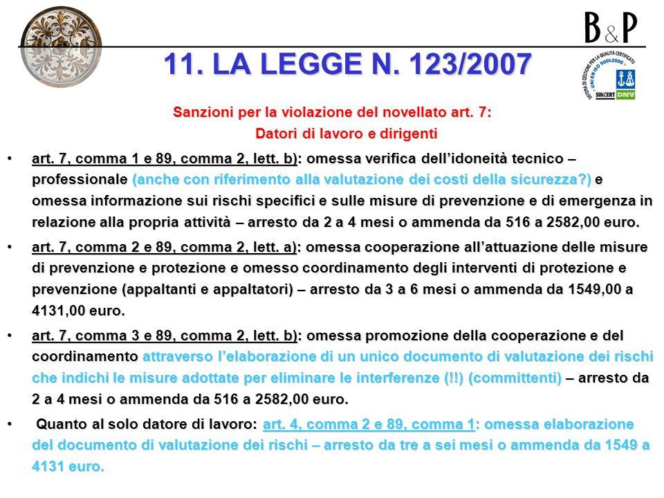 11. LA LEGGE N. 123/2007 Sanzioni per la violazione del novellato art. 7: Datori di lavoro e dirigenti.