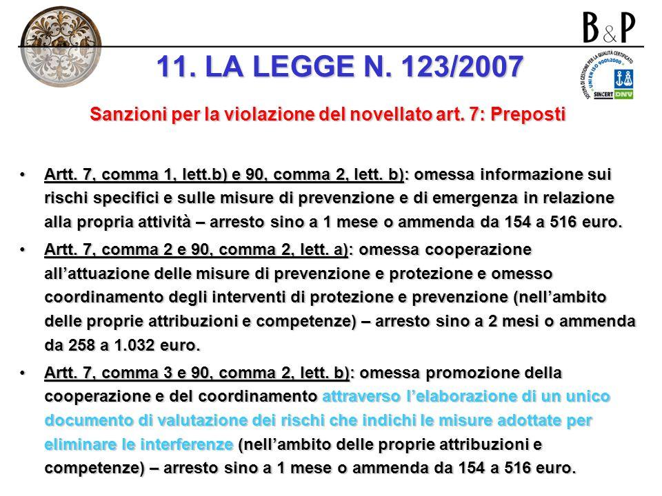 Sanzioni per la violazione del novellato art. 7: Preposti