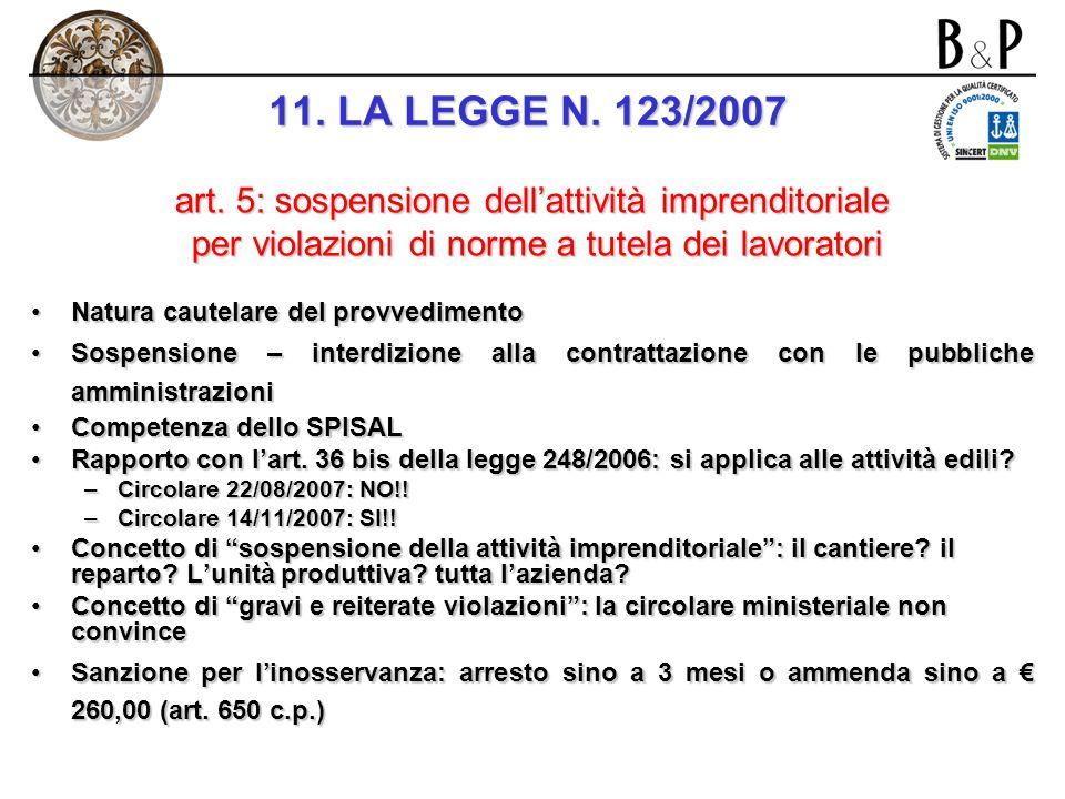 11. LA LEGGE N. 123/2007 art. 5: sospensione dell'attività imprenditoriale. per violazioni di norme a tutela dei lavoratori.