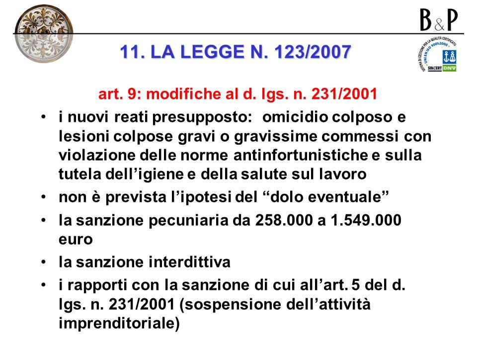 art. 9: modifiche al d. lgs. n. 231/2001