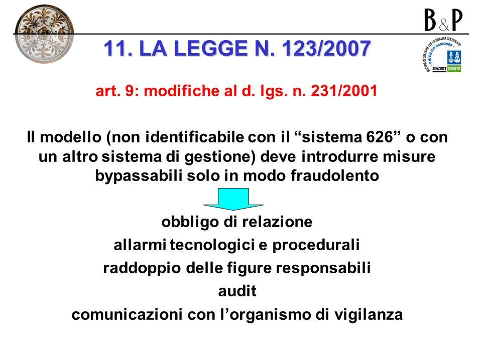 11. LA LEGGE N. 123/2007 art. 9: modifiche al d. lgs. n. 231/2001