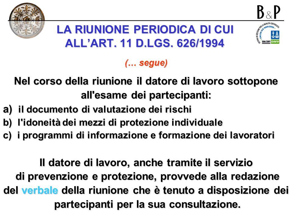 LA RIUNIONE PERIODICA DI CUI ALL'ART. 11 D.LGS. 626/1994